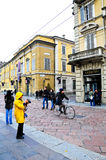 Old streets in the historic center of parma Royalty Free Stock Image