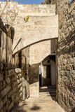 The old streets and houses of the ancient city of Jerusalem. In Israel stock photo