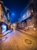 Old streets of Istanbul by night Istanbul. With moon light, Turkey Stock Photography