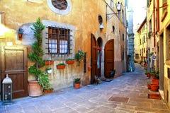 Old streets of italian village,Casperia,Lazio. Beautiful Casperia village,view with old streets and floral decoration,Lazio,Italy royalty free stock photos