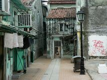 Old streets in macao. Old houses and streets in macao, china Royalty Free Stock Photos