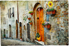 Old streets of medeival towns of Itlay Stock Photography