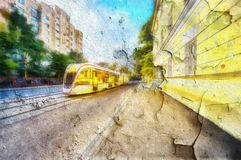 Urban landscape Moscow- abstract brush strokes paint Stock Image