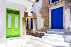 Old streets of Naxos island, Greece stock images