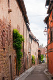 Old streets in Riquewihr town Royalty Free Stock Image