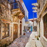 Old  streets of traditional greek villages - Naxos island. Stock Photos