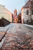 Old streets of Vyborg at dawn Royalty Free Stock Images
