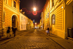 Old streets of Zagreb night view Stock Photo