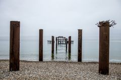 Old structure of a pier. Metal old structure of a pier Stock Images
