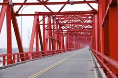 The old structure of red bridge closeup Royalty Free Stock Photos