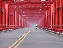 The old structure of red bridge closeup Royalty Free Stock Image