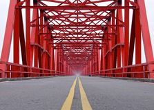 The old structure of red bridge closeup Stock Photo
