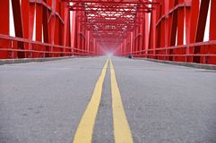 The old structure of red bridge Stock Image
