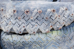Old studded tires Royalty Free Stock Image
