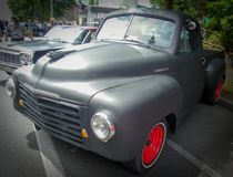 Old Studebaker Truck refurbished. Grey, rebuilt Studebaker tuck.  At the yearly Green Lake Car Show located in the Seattle, Washington area Stock Photo