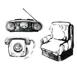 Old stuff on white background. Phone, tape recorder, chair. Vintage style, hand drawn. Royalty Free Stock Image