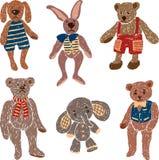 Old stuffed toys vector illustration