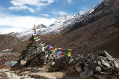 Old stupa with prayer flags, Everest region, Nepal Royalty Free Stock Images