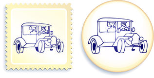 Old Styel Car on Button and Stamp Set Stock Images