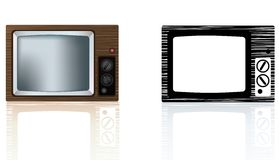 Old style 1970s or 1980's wooden portable tv Stock Photos