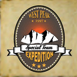 Old style adventure mountain expedition badge Stock Image