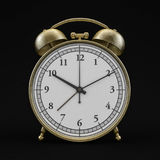 Old style alarm clock isolated on black. 3D. Rendering Royalty Free Stock Photos