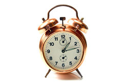 Old style alarm clock isolated on white Stock Photo
