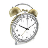 Old style alarm clock isolated on white. 3D. Rendering Royalty Free Stock Image