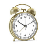 Old style alarm clock isolated on white. 3D. Rendering Royalty Free Stock Images