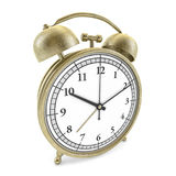 Old style alarm clock  on white. 3D. Rendering Stock Photography