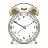 Old style alarm clock  on white. 3D. Rendering Stock Photos