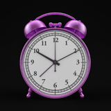 Old style alarm pink clock isolated on black. 3D Royalty Free Stock Photo