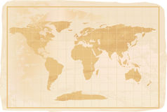 Old style anitioque world map. Illustration of a yellow old vintage world map with crreases and a little dirty Stock Photo
