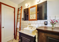 Old style bathroom interior with vintage washbasin Royalty Free Stock Photo