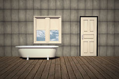 Old style bathtub in a retro bathroom Royalty Free Stock Photo
