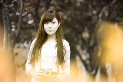 Old style beauty Romantic Girl Outdoors royalty free stock image