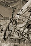 Old Style Bicycle. An early 20th Century bicycle at a campsite Stock Photo