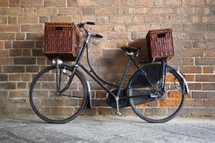 Old style bicycle with baskets Stock Photos