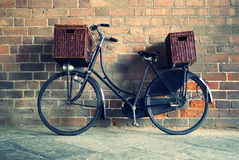Old style bicycle with baskets Royalty Free Stock Photography