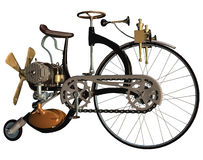 Old style bicycle. 3D render of a steampunk, old style bicycle stock illustration