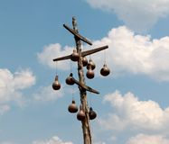 Old Style Bird Houses On A Wooden Mast Royalty Free Stock Photo