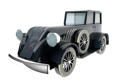 Old style black car over white background. 3d rendering Stock Images