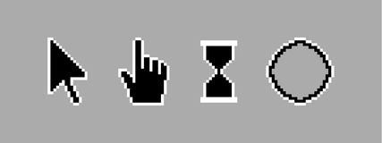 Old style black pixel cursor icon. Illustration Royalty Free Stock Photography