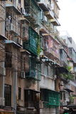 Old style block of apartments in Macau. China. Royalty Free Stock Photography