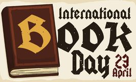 Old Style Book over Scroll to Celebrate International Book Day, Vector Illustration. Ye olde book over a scroll with date to celebrate International Book Day royalty free illustration
