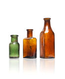 Old style bottles in row stock photography