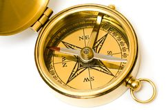 Old style brass compass Royalty Free Stock Image