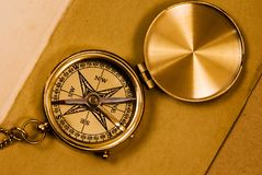 Old style brass compass Royalty Free Stock Photography