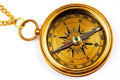 Old style brass compass Stock Images