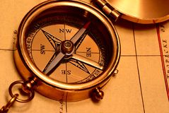 Old style brass compass Royalty Free Stock Photos